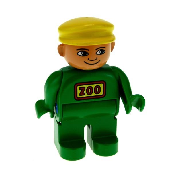 1 x Lego Duplo Figur Mann Hose Overall Jacke grün mit Zoo Logo Kappe Mütze Hut gelb Wärter Tierpfleger Set 2662 2664 2669 9160 4555pb079