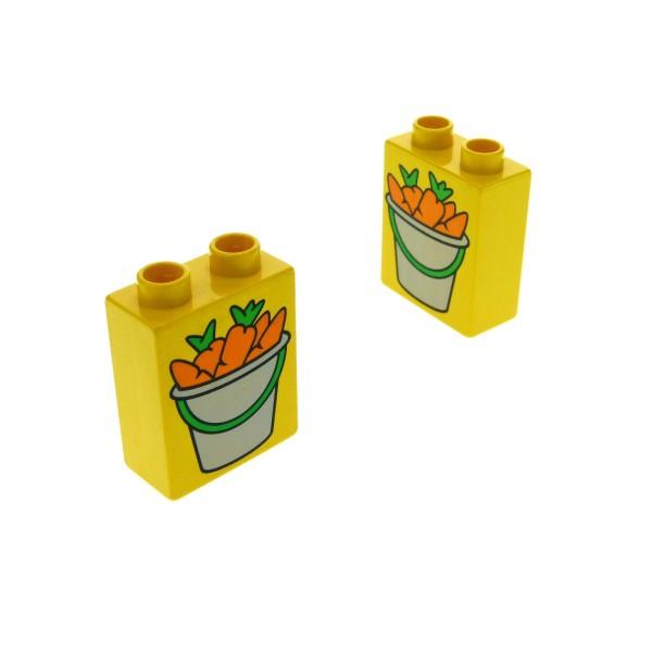 2 x Lego Duplo Motivstein gelb 1x2x2 bedruckt Eimer Karotte Möhre Bild Bau Stein 4066pb039