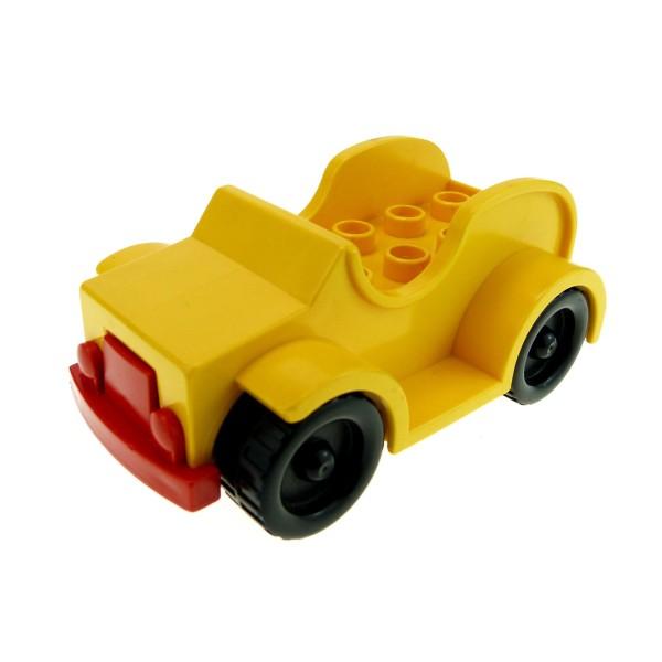 1 x Lego Duplo Fahrzeug Jeep gelb Stoßstange rot Räder schwarz Auto PKW Transporter Pickup für Set 2610 2651 9152 9153 4853c02