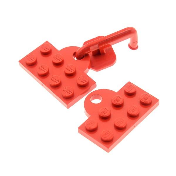 1 x Lego System Kupplung rot 2 x 4 Lok Zug Train 4.5 V Eisenbahn Anhängerkupplung mit Haken Platte Öse geschlossen 737bc01 737