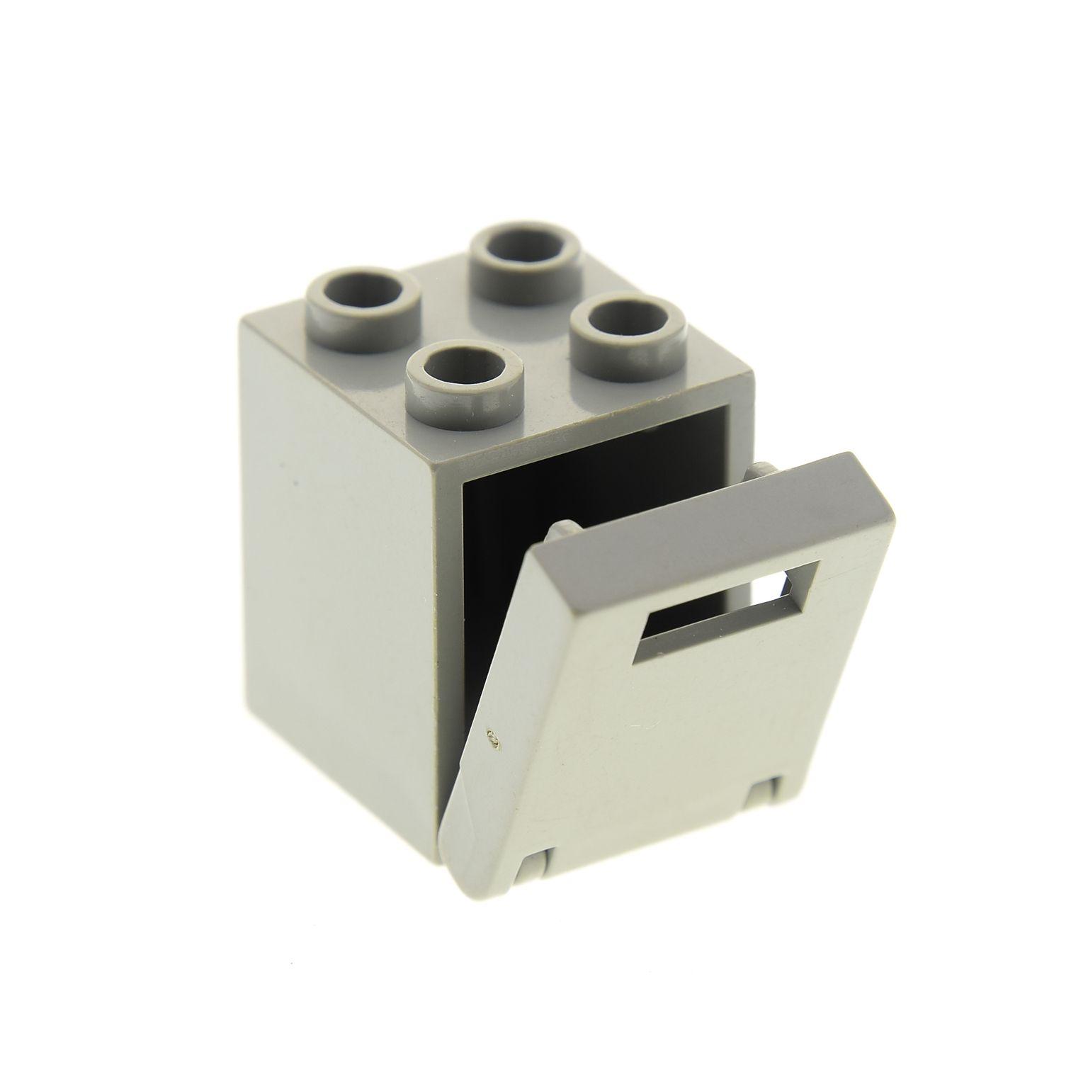 1 x Lego System Schrank neu-hell grau 2 x 2 x 2 Container Box mit Tür Deckel Kla