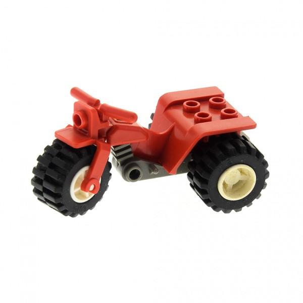 1 x Lego System Trike Motorrad rot Tricycle Rad Räder Felge weiß Bike 30187c01