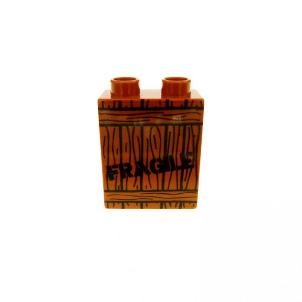 1 x Lego Duplo Motivstein dunkel orange braun 1x2x2 bedruckt Fragile Holz Kiste Bild Bau Stein 4066pb177