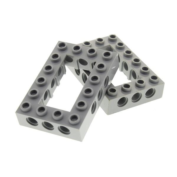 2 x Lego Technic Bau Rahmen Stein neu-hell grau 4x6 Lochstein Technik (Unterseite Kreuz) Set 10134 10175 21137 75157 71042 4211716 40344 32531