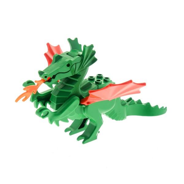 1 x Lego System Tier Drachen grün Flügel rot Flamme transparent neon orange Castle Burg Ritter Set 6082 6076 6056 6087 6129c03