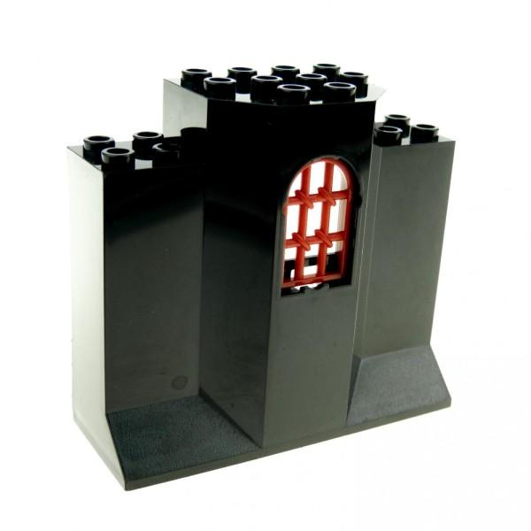 1 x Lego System Mauerteil schwarz 3x8x6 Panele mit Gitter Fenster verdreht Mauer Wand Turm Burg Castle 4261393 30045 48490