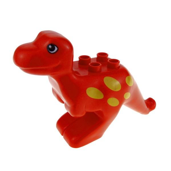 1 x Lego Duplo Tier T - Rex Dino rot mit Muster gelb Dinosaurier Zoo Zirkus Steinzeit Dino Welt 4506595 31050