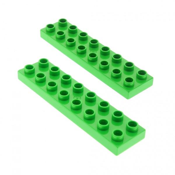 2 x Lego Duplo Bau Basic Platte bright green hell grün 2x8 Stein für Set 5795 5635 4864 5819 5656 3771 45016 44524
