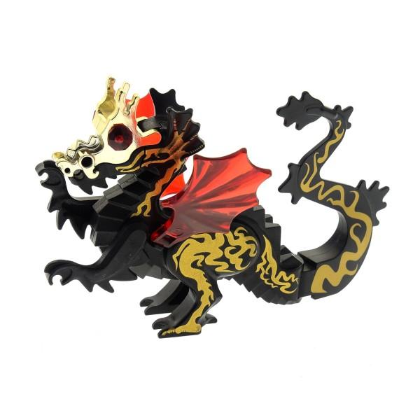 1x Lego Tier Drachen schwarz gold Juwel rot Orient Expedition 7419 6129c05pb01