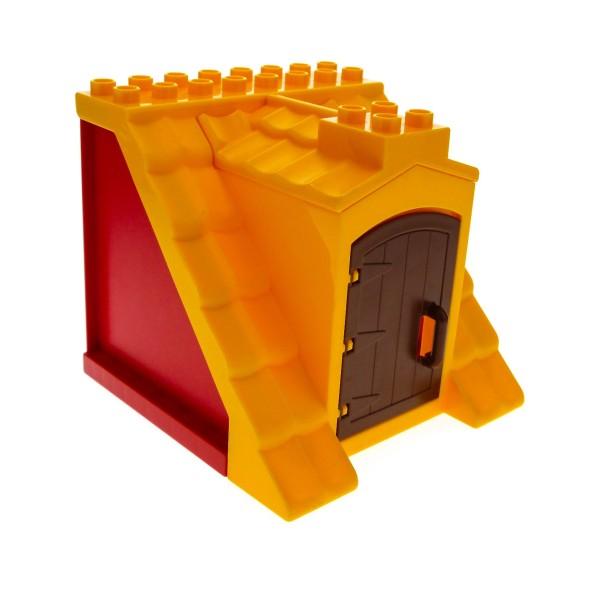1x Lego Duplo Dach 8x8x8 groß gelb orange Wand rot Tür braun Haus 51383 51384c01