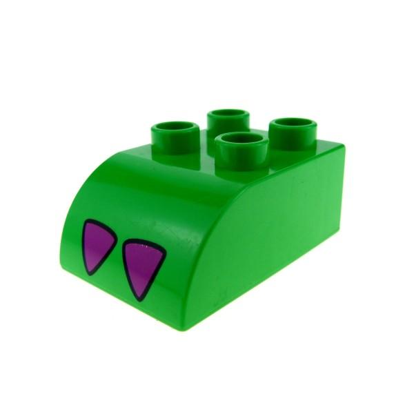 1 x Lego Duplo Basic Dach Bau Stein 2x3 grün lila Oben schräg abgerundet für Krokodil Fuss 2302pb01