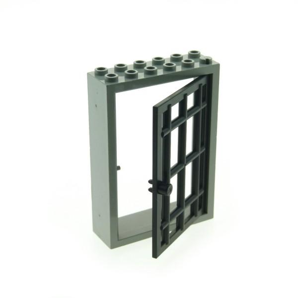 1 x Lego System Tür alt-hell grau schwarz 2 x 6 x 7 Gitter Tür Tor Kerker Gefängnis Castle Burg Verlies 4071 4611