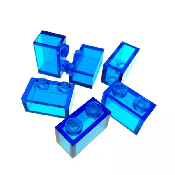 6 x Lego System Glas Stein transparent dunkel blau 1 x 2 Baustein Basic Glasstein 3065