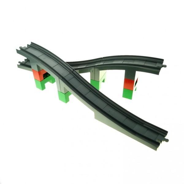 1 x Lego Duplo grosse Eisenbahn Brücke gross neu-dunkel grau mit Säulen grün rot für Schiene E-Lok 6392 6393 6394