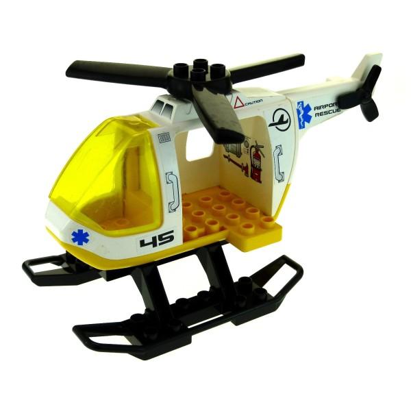 1 x Lego Duplo Hubschrauber weiß gelb Heli Helicopter gross Arzt Airport Rescue ( Aufkleber unschön ) für Set 7841 6346 52932 6345 6343pb05