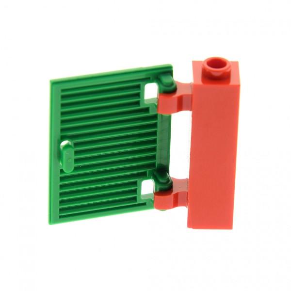 1 x Lego System Zarge rot 1x1x3 Gatter mit 2 Clips Tor Fenster Tür Halterung (Noppen leer) mit Fensterladen grün für Set 5508 4563682 60800 60583b