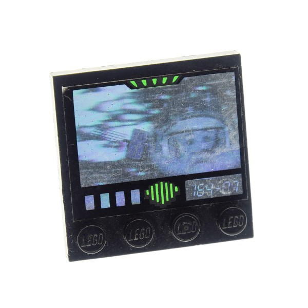 1 x Lego System Bau Platte schwarz 4x4 Fliese mit einer Reihe Noppen Aufkleber Hologramm Astronaut Exploriens Monitor für Set 6958 6982 6899 5129 6179pb001
