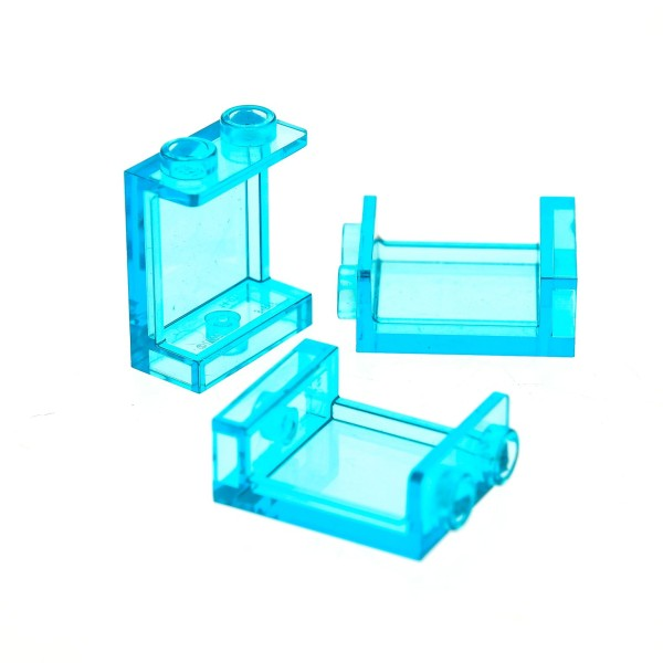 3 x Lego System Panele Fenster transparent hell blau 1x2x2 (Noppen leer/ mit Rand) Friends Nexo Knights 70317 41148 71016 41318 76038 41130 87552