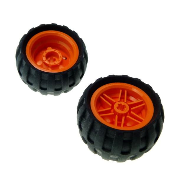 2 x Lego Technic Rad schwarz 43.2mm D. x 26mm Felge orange 30.4mm D. x 20mm Ballon Reifen Räder Auto Fahrzeug 61481 56145c04