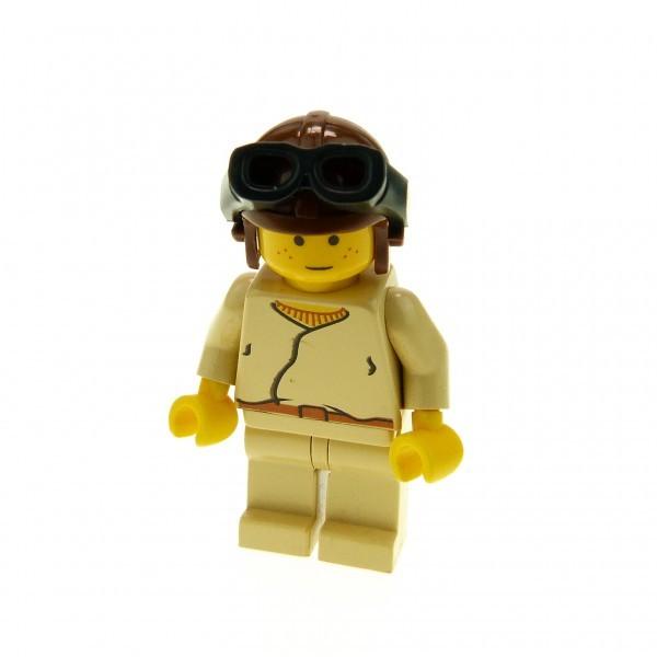 1 x Lego System Figur Star Wars Anakin Skywalker beige tan jung Helm braun Naboo Pilot alte Version sw007