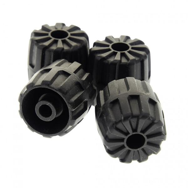4 x Lego System Hart Plastik Rad schwarz klein 22mm D. x 24mm Räder Unitron Exploriens 1787 6958 6982 6118