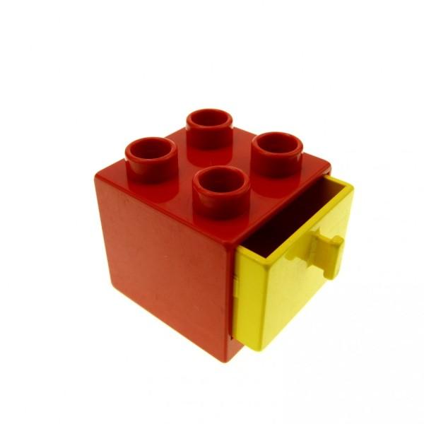 1 x Lego Duplo Möbel Schrank rot gelb 2x2x1.5 Kommode mit Schublade 2x2 Schlafzimmer Küche Bad Puppenhaus 4171339 4890 4891