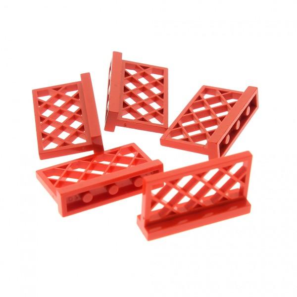 5 x Lego System Zaun rot 1x4x2 Gitter Absperrung Gatter Garten Zäune 318521 3185
