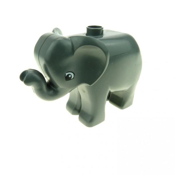 1 x Lego Duplo Tier Baby Elefant klein neu-dunkel grau Augen neue Form Zirkus Zoo Bauernhof Safari Set 4968 7618 4960 5635 9214 4283133 elephc01pb02