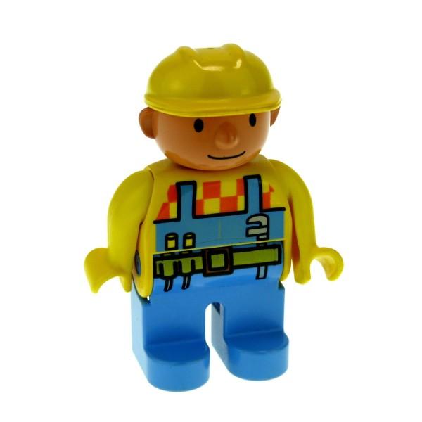 1 x Lego Duplo Figur Mann Bob der Baumeister hell blau gelb Bauarbeiter mit Werkzeug Gürtel Helm 4555pb030