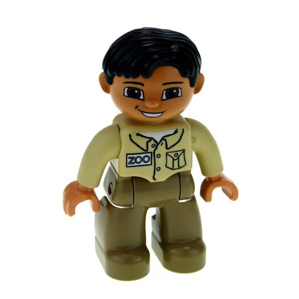 1 x Lego Duplo Figur Mann Hose dunkel beige tan Jacke beige mit Zoo Aufdruck Haare schwarz Wärter Tierpfleger 47394pb018