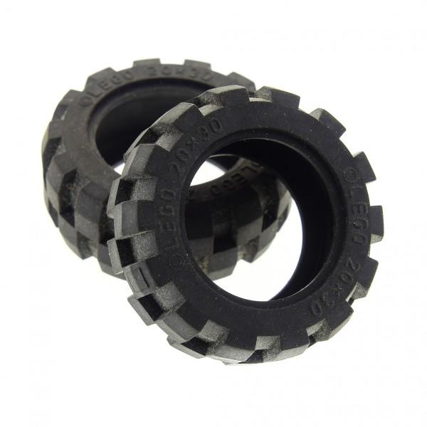 2 x Lego Technic Rad Ballon Reifen schwarz 20x30 solo weich Medium Räder Technik Auto Fahrzeug 6581