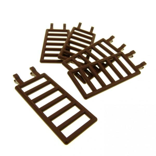 5 x Lego System Zaun braun 7x3 mit 2 Clip Leiter Gatter Zäune Scharnier Wild West Castle Piraten 6056 6763 6020