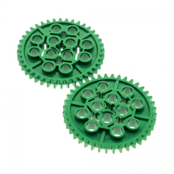 2 x Lego Technic Zahnrad grün 40 Zähne Technik Gear 40 Tooth Set 9785 9786 9650 9649 4120109 3649