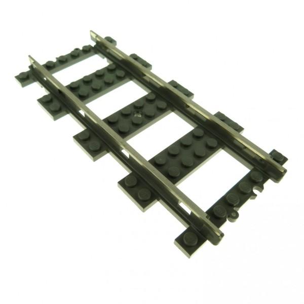 1 x Lego System 9 V alt-dunkel grau gerade Eisenbahn Zug Lok Metall Schiene Gleis 2865
