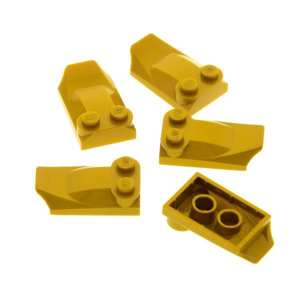 5 x Lego System Stein modifiziert perl gold 2x3x2/3 mit 2 Noppen Flügel Ende Ziegel Schild Set 8813 8701 8108 4286599 47456