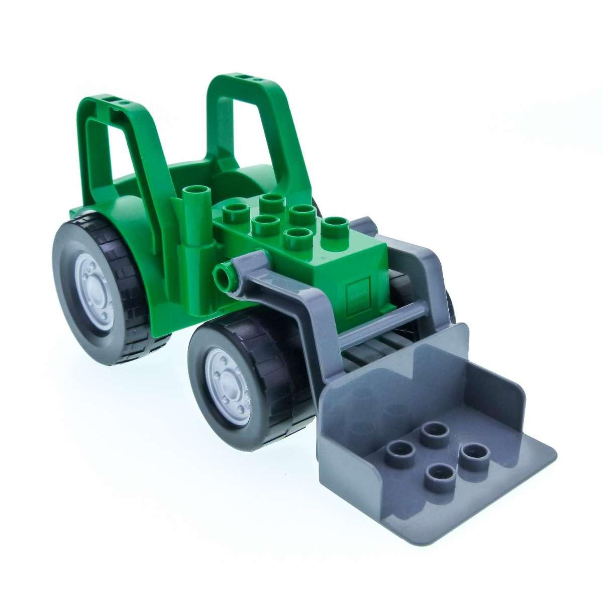 1 x lego duplo traktor grün neudunkel grau mit schaufel