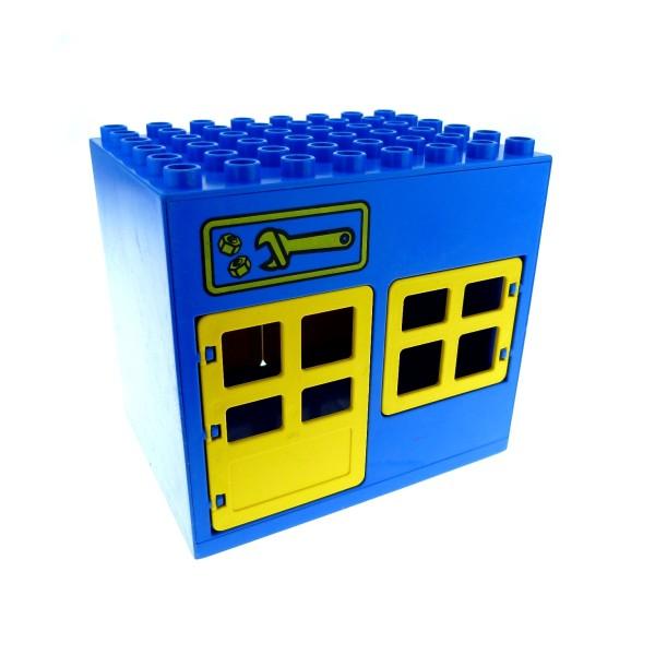 1 x Lego Duplo Gebäude Werkstatt gross blau gelb 6x8x6 Zimmer Haus Werkzeug Schlüssel Tür Fenster Tor 2205 2206 2208 2204pb01