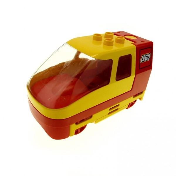 1 x Lego Duplo elektrische Eisenbahn E-Lok gelb rot Lokomotive Geräusch Passagier Zug komplett geprüft Set 2932 31298c01 2961
