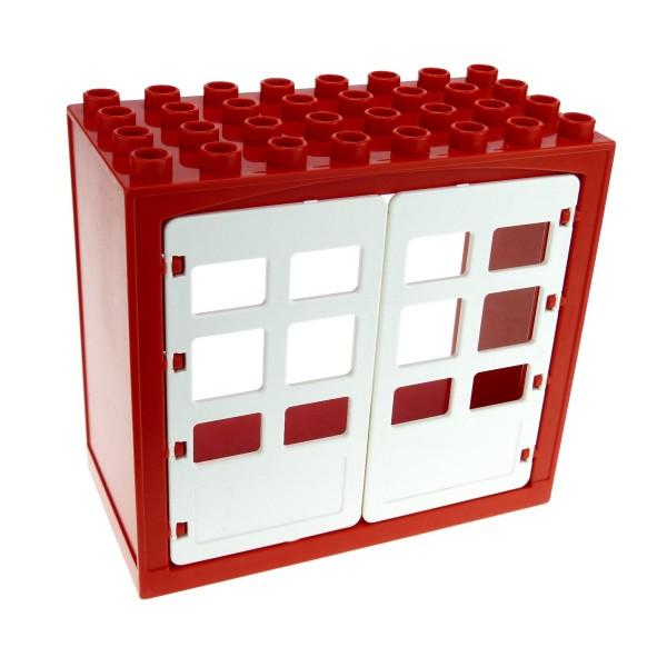 1 x Lego Duplo Gebäude Scheune rot weiss 4x8x6 schmal Haus Tür Tor Gatter Puppenhaus Bauernhof Farm 2208 6432