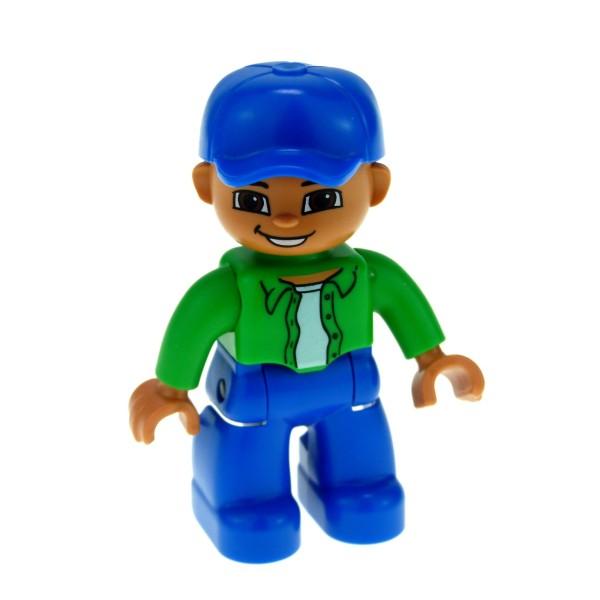 1 x Lego Duplo Figur Mann Vater großer Bruder Hose blau Jacke bright hell grün Mütze Basecap blau 47394pb087