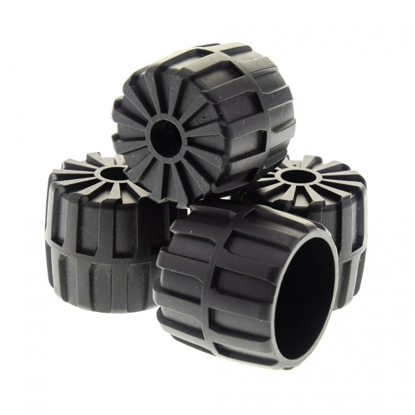 4 x Lego System Hart Plastik Rad schwarz 35 mm D. x 31 mm Räder Mond Space M-Tron Unitron Blacktron Auto Fahrzeug 6896 1787 6851 2593