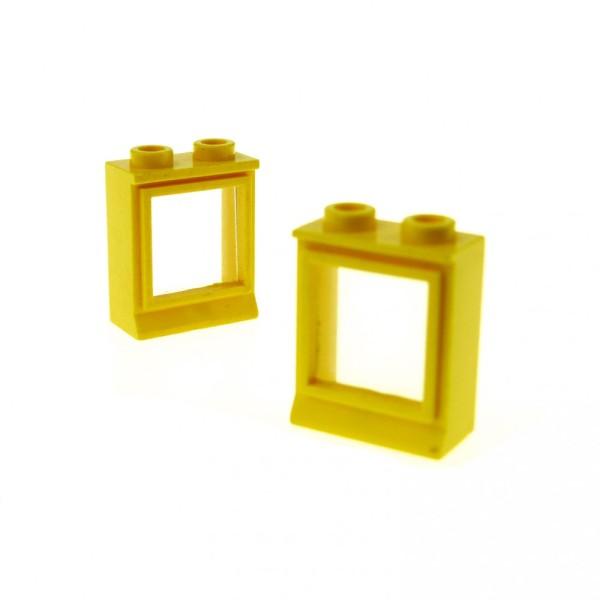 2 x Lego System Fenster Rahmen gelb transparent weiss 1 x 2 x 2 Zug Eisenbahn Haus Fenster Waggon 7026