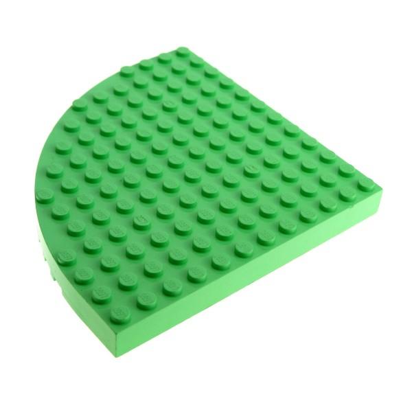 1 x Lego System Bau Basic Platte 12x12 medium hell grün 12 x 12 Noppen Ecke rund viertel Kreis Belville Set 5870 5871 5825 6162