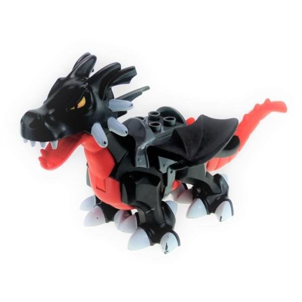 1x Lego Duplo Tier Drache schwarz rot groß Sattel Dragon Tower 5334c01pb02