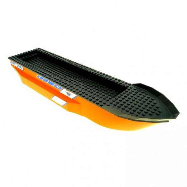 1 x Lego System Schiff Boot orange neu-dunkel grau 51 x 12 x 6 See Wacht Rumpf für Set Coast Guard Kahn gross 7739 54101 62791c01