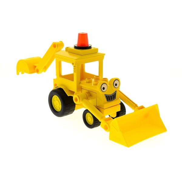 1 x Lego Duplo Bau Fahrzeug Baggi gelb Bob der Baumeister Figur Bagger Schaufel Greifarm Scoop Set 3297 3595 3272 dscoopc01