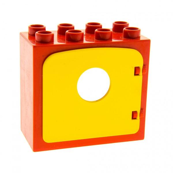 1 x Lego Duplo Haus Fenster Tür Rahmen rot flach Clip Halter Rückseite Ausschnitt gross 2x4x3 Klappe Loch klein Bullauge gelb dupdoor1 4253