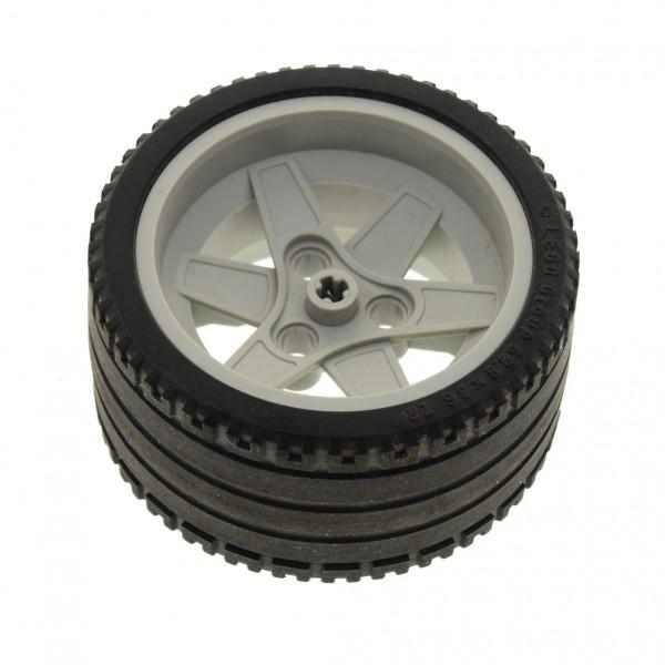 1 x Lego Technic Auto Fahrzeug Rad schwarz 68.8x36 ZR Felge alt-hell grau 56mm D.x34mm mit 3 Pin Löcher für Set 8365 44772 44771 4193457 4192535 44772c01
