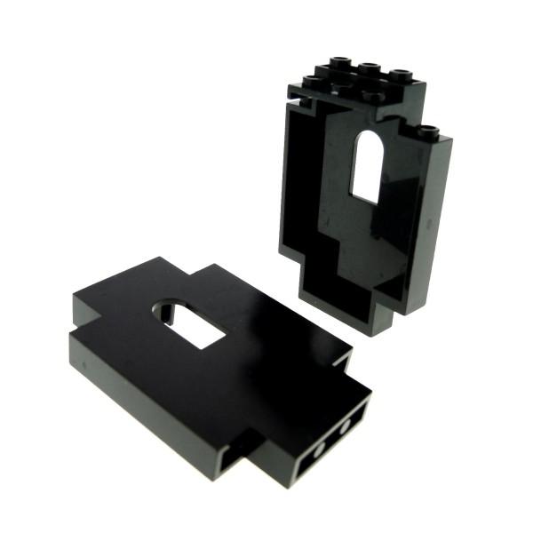 2 x Lego System Mauerteil schwarz 2x5x6 mit Fenster Loch Panele Mauer Wand Castle Burg 444426 4444