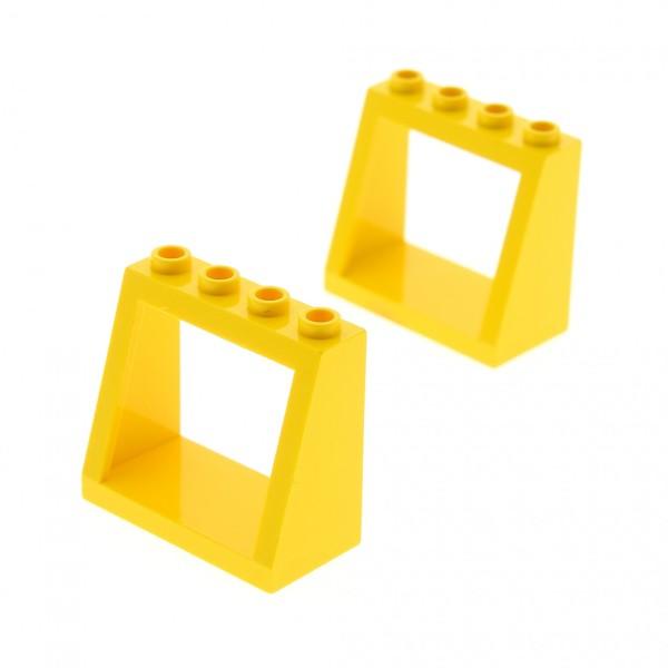 2 x Lego System Windschutzscheibe Fenster Rahmen gelb 2x4x3 für Gebäude Auto Fahrzeuge Haus 2352